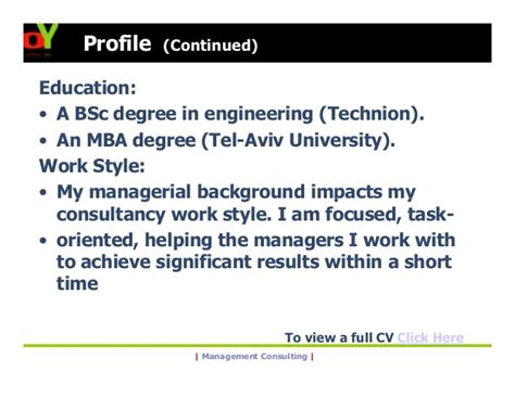 Technion Mba by Ofer Yuval Management Consulting Operations Strategy