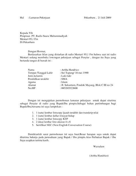 contoh surat lamaran kerja sebagai penyiar radio ben