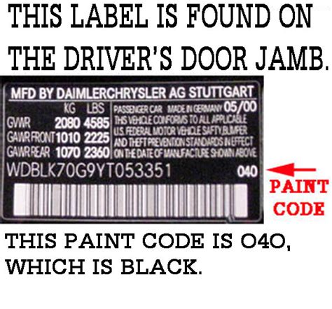 how to find paint code on 430clk w208 year 2000 mbworld org forums