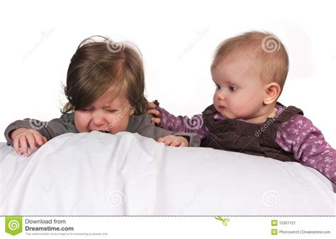 comforting another baby stock image image 15357121