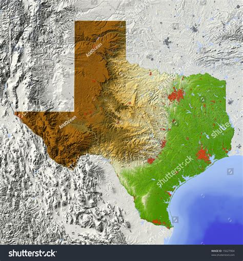 relief map of texas texas shaded relief map major stock illustration 15627904