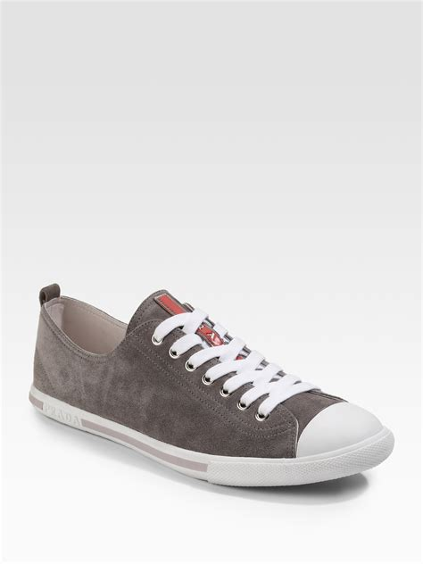 pradas shoes for lyst prada suede sneakers in gray for