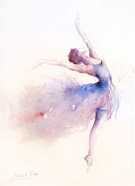 original watercolor art painting of ballerina by ewa
