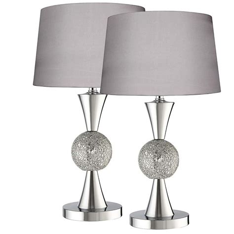 3516SI Mosiac Pair Silver Ceramic Mosaic Ball Table Lamp
