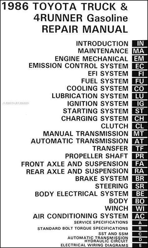 1986 Toyota Pickup Truck and 4Runner Repair Shop Manual