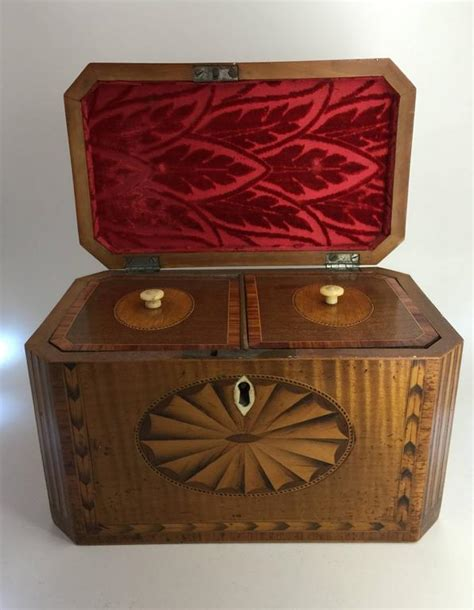 Tea Caddy L by George Iii Satinwood Marquetry Tea Caddy Late 18th