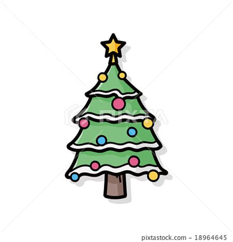 christmas tree doodle stock illustration 18964645 pixta