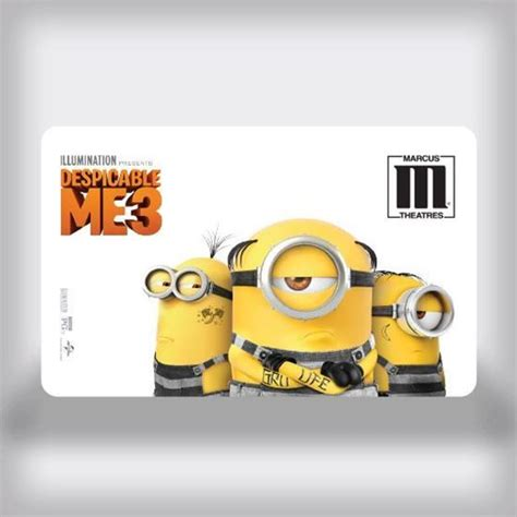 Marcus Theater Gift Card Balance - marcus theatres entertainment movie gift card despicable me 3 edition