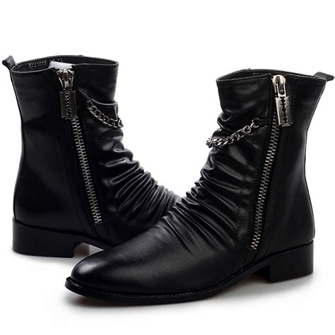 stylish mens leather boots cool stylish quality pleated leather motorcycle rock shoes
