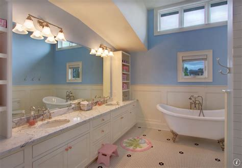 bathroom kids traditional kids bathroom with double sink penny tile