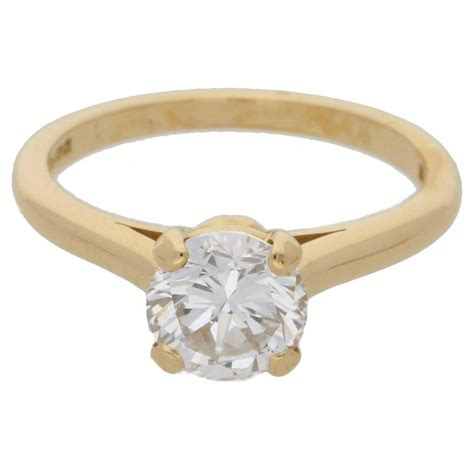 Single Gold Engagement Rings by Cartier 1 25 Carat Single Gold Ring For Sale