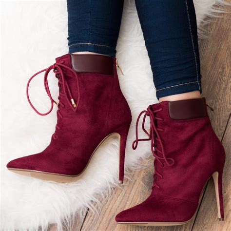 tie up high heel boots ripley cranberry ankle boots shoes from spylovebuy