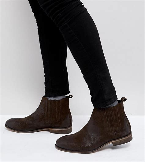 asos wide fit chelsea boots in brown suede with