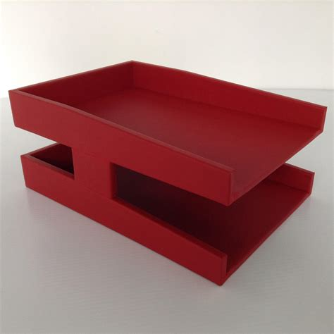 red office desk accessories red leather double letter tray legal sized inbox outbox