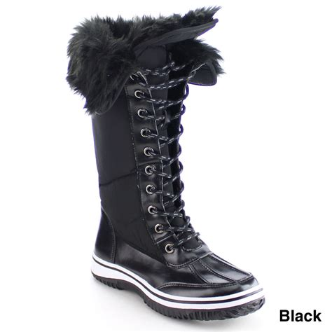 nature s lace up faux fur collar tongue flat winter boots ebay