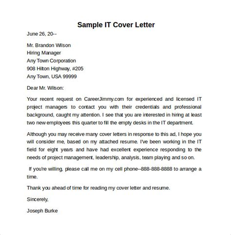 sle information technology cover letter template 8 free documents in pdf word
