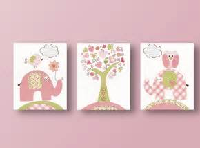 Baby girl nursery wall decor square with pink olive elephant bird and