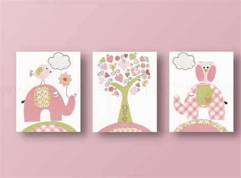 Nursery Decoration Sets Baby Nursery Decor Three Baby Nursery Wall Panel Simple Trees Animal Elephant Etsy