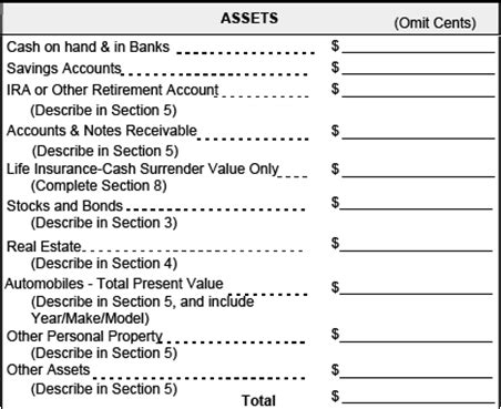 personal assets and liabilities template gse bookbinder co