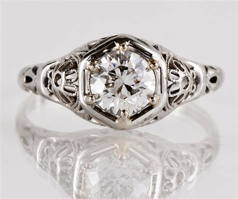 antique engagement ring antique 1920s 14k white gold