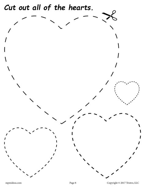 free hearts cutting worksheet hearts tracing coloring
