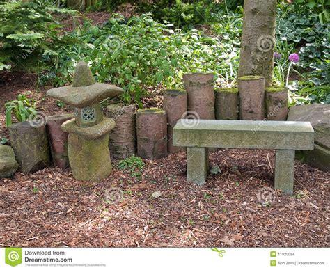 Beautiful Japanese Garden Romantic Seating Corner Stock