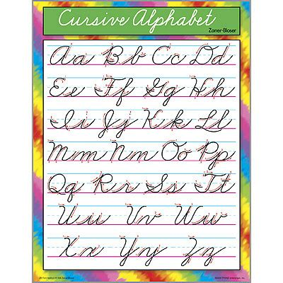 cursive letters chart educational school posters cursive letter writing chart