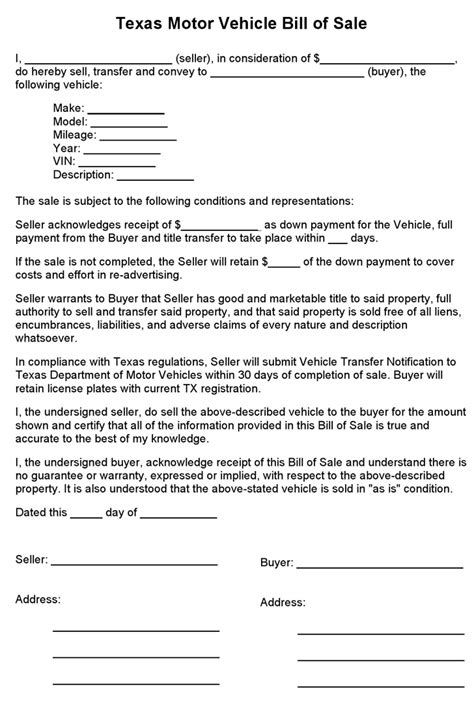 free motor vehicle dmv bill of sale form word pdf eforms