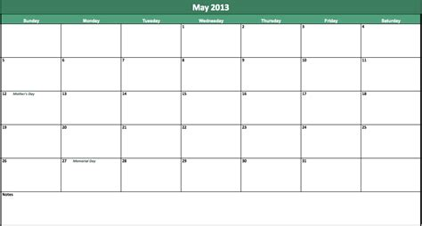 Calendar May 2013 May 2013 Calendar Template For Excel
