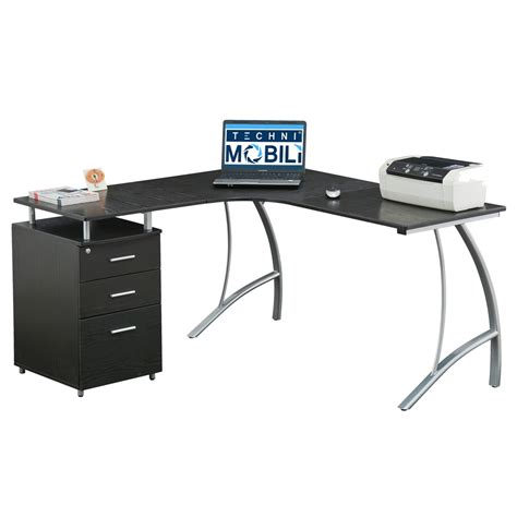 techni mobili l shaped computer desk techni mobili modern l shaped computer desk with file