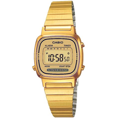 casio digital bracelet retro lcd gold la