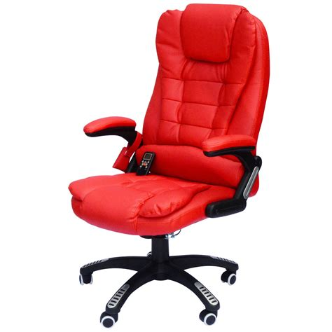red office desk chair executive ergonomic heated vibrating computer desk office