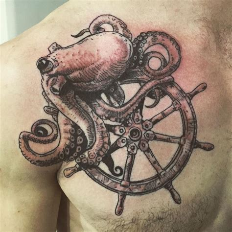 wheel tattoo octopus and ships wheel by briskeart paulbriske