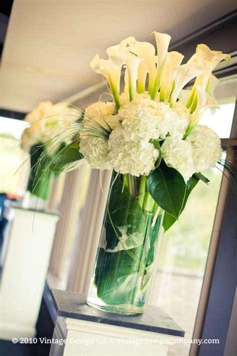 Hydrangeas Calla Lilies Reception Wedding Flowers Calla Lilies Centerpieces
