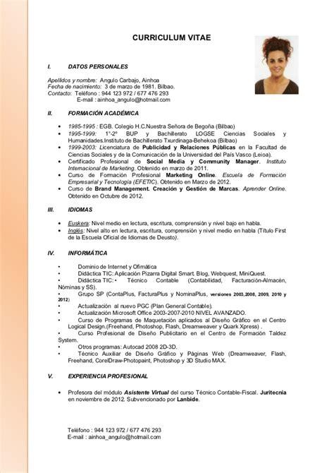 Ejemplo Curriculum Director Recursos Humanos Curriculum Ainhoa Actualizado 22 11 2012