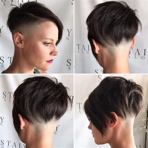 Women's Brunette Choppy Asymmetrical Undercut Pixie Short Hairstyle