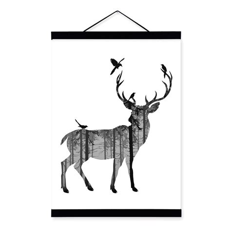 azqsd nordic vintage large art print poster deer head compare prices on silhouette canvas online shopping buy