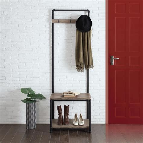 Neu Home Manchester Industrial Gray and Black Hall Tree
