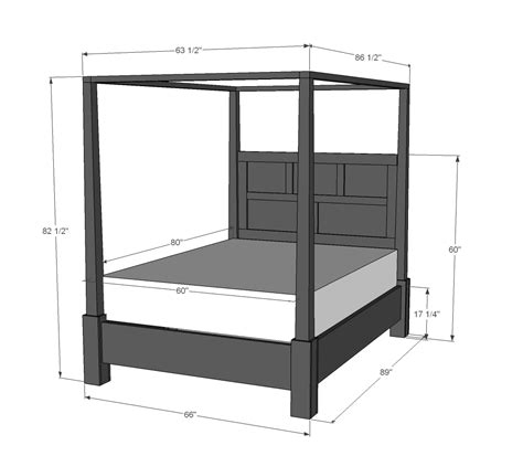 canopy bed plans ana white dawsen canopy or poster bed queen diy projects