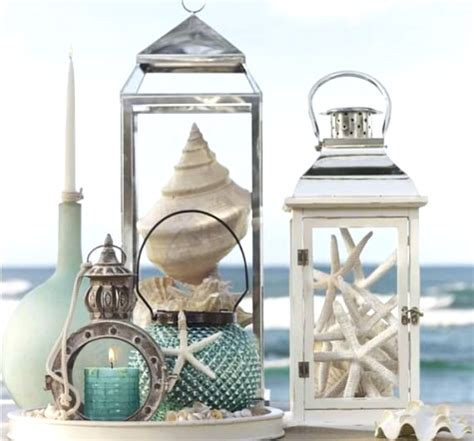 beach lanterns display shells amp sea life in a decorative
