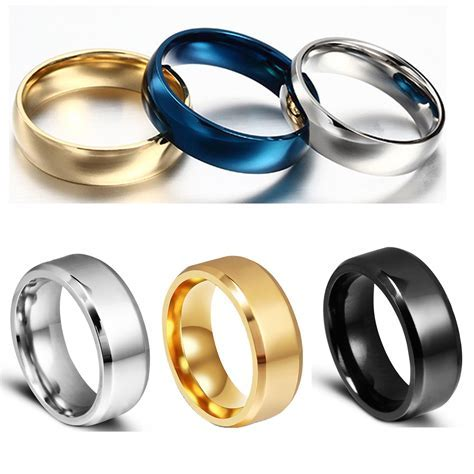 Men Women Titanium Steel Band Ring Comfort Fit Plain