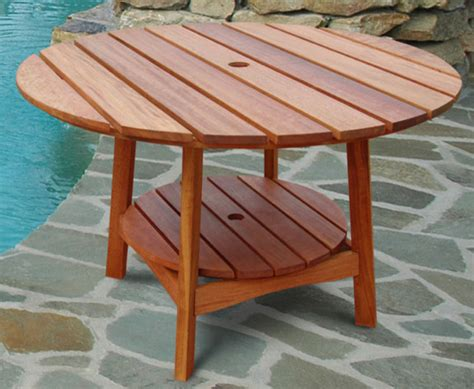 Outdoor Eucalyptus Wood Round Dining Table Traditional Outdoor Wood Patio Table