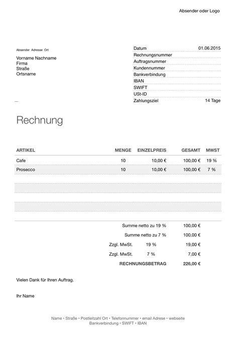 Rechnung Für Schweiz Mit Mwst Numbers Rechnungsvorlage Mit Zwei Steuers 228 Tzen Numbersvorlagen De