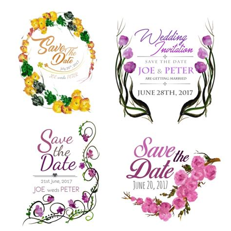 Wedding Invitation Collections by Watercolor Wedding Invitation Collection Vector Free