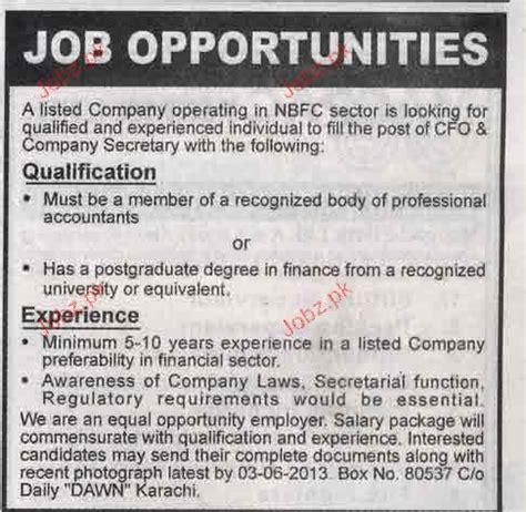 cfo and company secretary job opportunity 2018 jobs pakistan