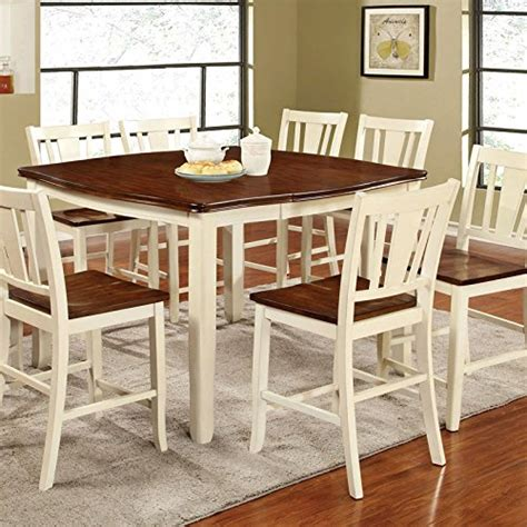 high end dining room sets eground gloss height table bar dover transitional style white cherry finish 7 piece