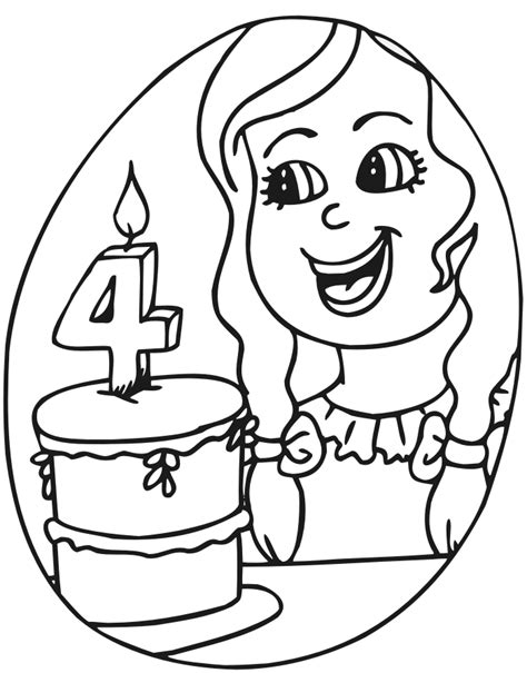 Birthday Coloring Pages For 4 Year Olds | birthday coloring page a four year old with her cake