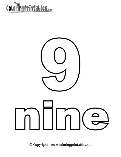 coloring page of number 9 number nine coloring page printable numbers activities