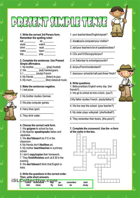 Simple Present Tense Worksheets by The World S Catalog Of Ideas
