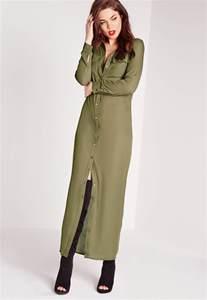 missguided maxi length long sleeve shirt dress khaki in